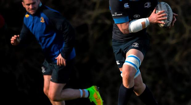 Leinster's Rhys Ruddock and Fergus McFadden, left, during squad training