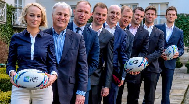 Pictured at the announcement are, from left, Sinead Kissane, Stuart Barnes, Neil Back, Conor McNamara, Keith Wood, Hugo MacNeill, Shane Jennings, Liam Toland and Murray Kinsella. The Merrion Hotel, Dublin. Picture credit: Pat Murphy / SPORTSFILE