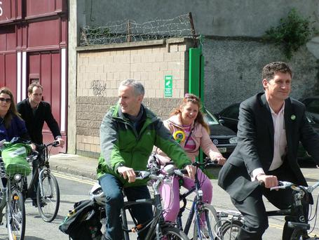 Eamon Ryan, far right, on his bike that was stolen Wednesday afternoon