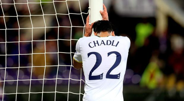 Tottenham's Nacer Chadli looks dejected after a missed chance.