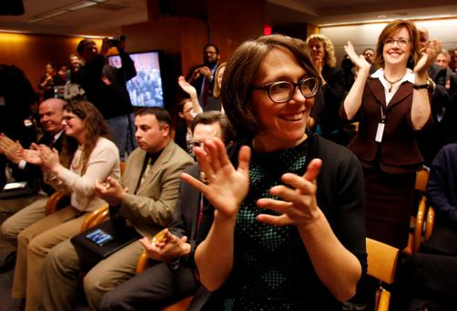 Members of the audience react after Federal Communications Commission (FCC) voting at Net Neutrality hearing in Washington REUTERS/Yuri Gripas