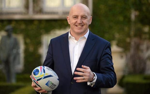 Keith Wood at the TV3 Rugby World Cup launch in Dublin yesterday