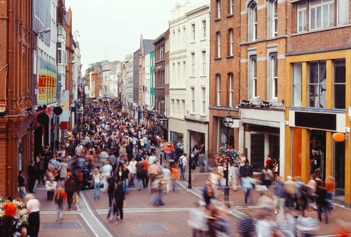 Grafton Street, Dublin, where crowds of consumers say they are feeling more confident than at any time since 2006