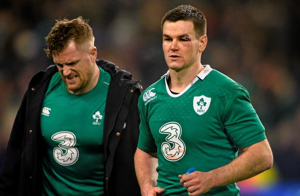 Ireland's Jonathan Sexton, right, and Jamie Heaslip after the France game
