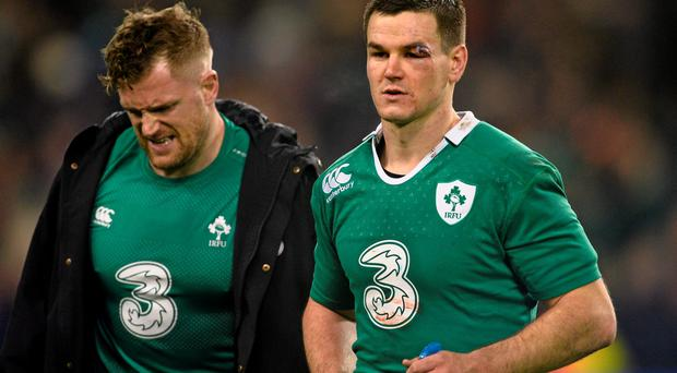 Ireland's Jonathan Sexton, right, and Jamie Heaslip