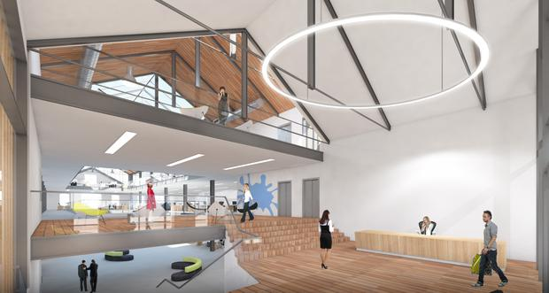 Artist's Impression of the Warehouse. Airbnb today announced that it is to extend its office to a new 'Silicon Docks' building at Hanover Quay.