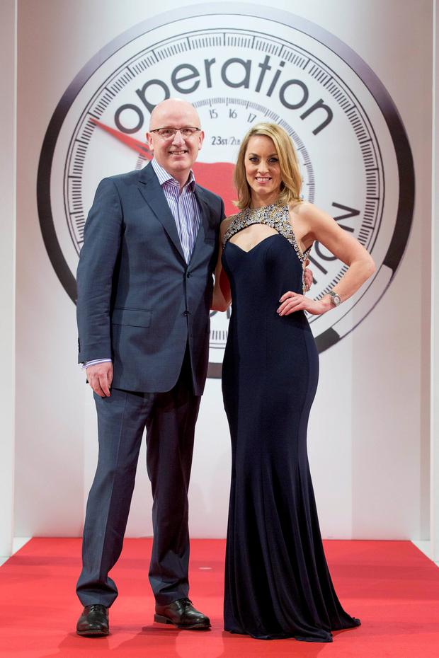 Presenters Radio 1's John Murray and Kathryn Thomas pictured at the Operation Transformation catwalk finale.