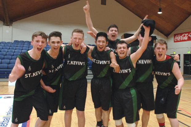 St.Kevins Finglas celebrate winning at the Basketball U16 All Ireland League Final between St.Kevins Finglas and St.Peters Dunboyne at the National Basketball Arena. Pic: Justin Farrelly.