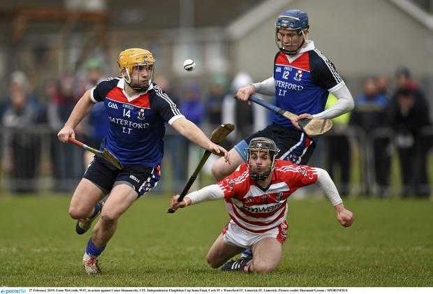 Liam McGrath, WIT, in action against Conor Hammersly, CIT
