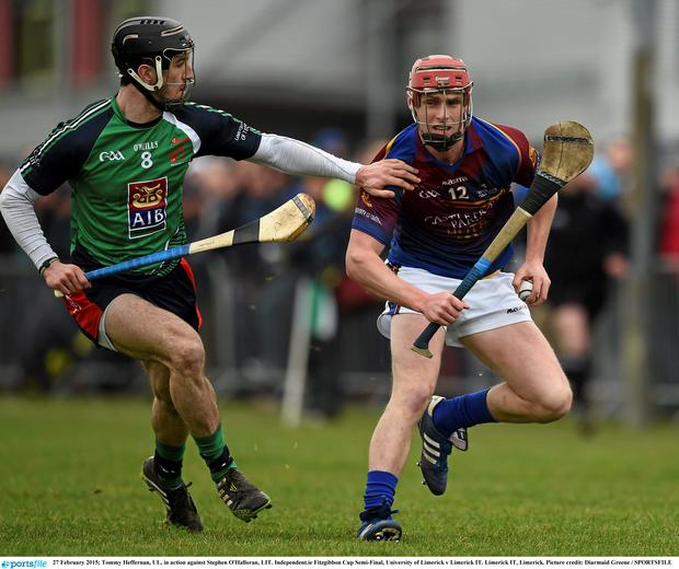 27 February 2015; Tommy Heffernan, UL, in action against Stephen O'Halloran, LIT. Independent.ie Fitzgibbon Cup Semi-Final, University of Limerick v Limerick IT. Limerick IT, Limerick. Picture credit: Diarmuid Greene / SPORTSFILE