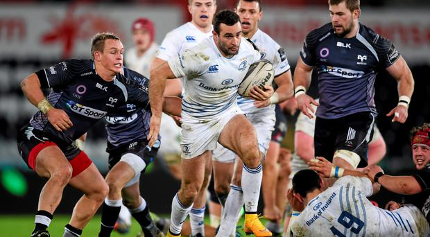 Dave Kearney, Leinster, in action against Hanno Dirksen, Ospreys. Guinness PRO12, Round 16, Ospreys v Leinster. Liberty Stadium, Swansea, Wales. Picture credit: Stephen McCarthy / SPORTSFILE