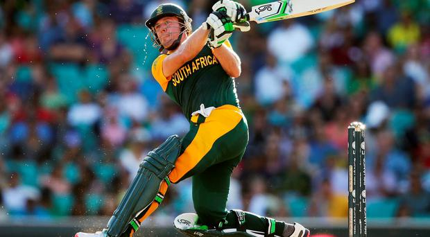 AB de Villiers of South Africa bats during the 2015 ICC Cricket World Cup match between South Africa and the West Indies