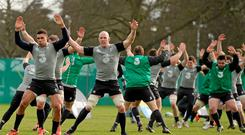The Ireland squad warms up during a training session ahead of the clash with England