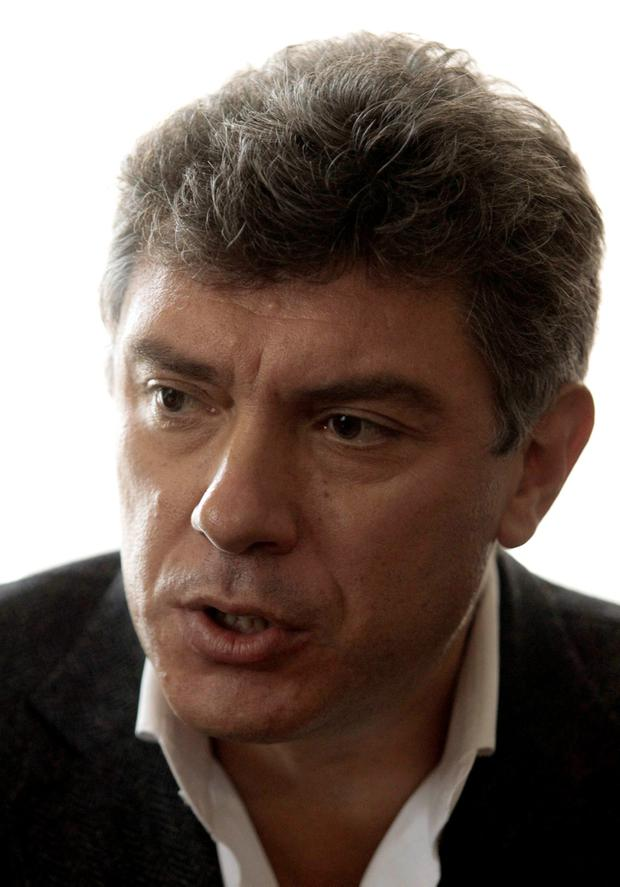 Opposition leader Boris Nemtsov speaks during a news conference in Moscow (RUSSIA - Tags: POLITICS HEADSHOT OBITUARY)