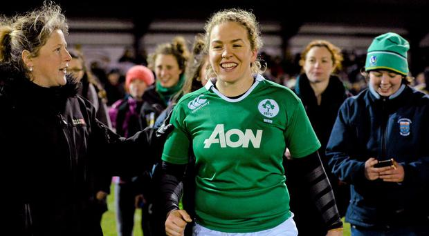 Ireland's Niamh Briggs celebrates with supporters after the game