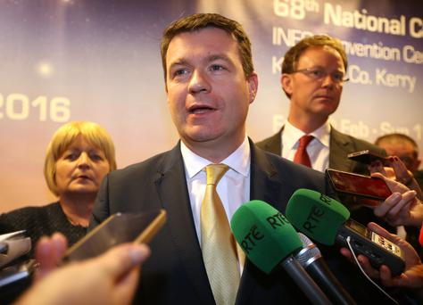 Minister for the Enviroment, Community and Local Government, Alan Kelly pictured speaking to the media before the start of the Labour Party national Conference in the Gleneagle Hotel in Killarney