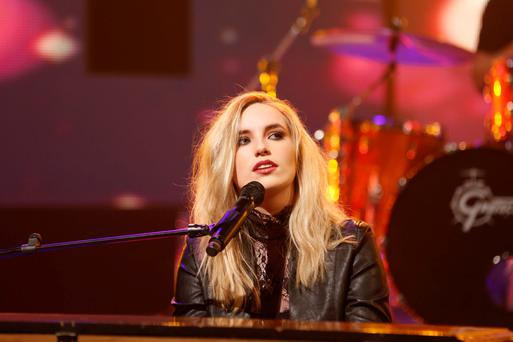 Molly Sterling performs Playing with Numbers, co-written with Greg French on the Late Late Show Eurosong special. Picture: Andres Poveda