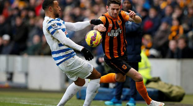 Hull's Robbie Brady in action with QPR's Matthew Phillips last weekend Reuters / Andrew Yates