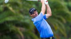 Feb 28, 2015; Palm Beach Gardens, FL, USA; Padraig Harrington tees off on the 8th hole during the second round of the Honda Classic at PGA National GC Champion Course. Mandatory Credit: Peter Casey-USA TODAY Sports