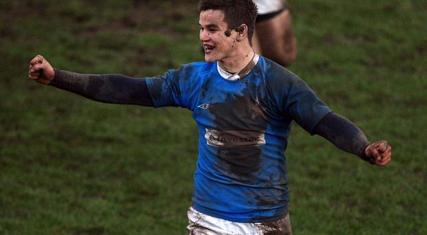 Jonathan Sexton, playing for his school St Mary's at 16, celebrates winning the Leinster Schools' Final in 2002