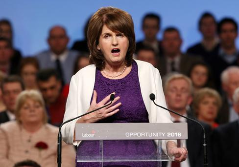 Tanaiste and Leader of the Labour Party, Joan Burton pictured during the leaders address at the Labour Party national Conference at the INEC in Killarney. 28/2/15 Pic Frank Mc Grath