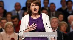 Tanaiste and Leader of the Labour Party, Joan Burton pictured during the leaders address at the Labour Party national Conference at the INEC in Killarney. Photo: Frank Mc Grath