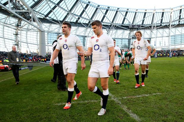 DUBLIN, IRELAND - MARCH 01: Dejected England players Nick Easter, Richard Wigglesworth and Billy Twelvetrees of England walk off the pitch following their team's 19-9 victory during the RBS Six Nations match between Ireland and England at the Aviva Stadium on March 1, 2015 in Dublin, Ireland. (Photo by David Rogers/Getty Images)