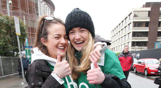 Fans Anna Martyn and Emma Coleman pictured ahead of the Ireland vs England fixture in the Six Nations 2015 at the Aviva Stadium