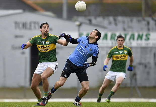 Denis Bastick, Dublin, in action against Kerry's Anthony Maher in the Allianz Football League