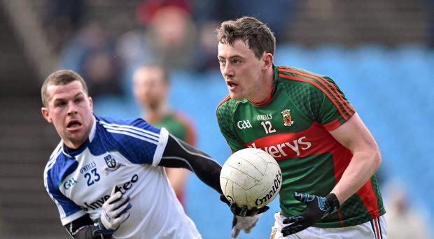Ryan McAnespie, Mayo, in action against Danny Kirby, Monaghan. Allianz Football League, Division 1, Round 3, Mayo v Monaghan. Elverys MacHale Park, Castlebar, Co. Mayo