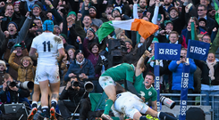 Robbie Henshaw celebrates the only try of the game against England at Lansdowne Road.