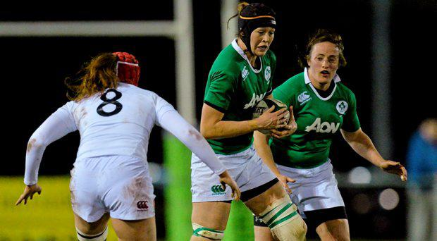 Marie Louise Reilly, Ireland, in action against, Harriet Millar-Mills, England. Women's Six Nations Rugby Championship, Ireland v England. Ashbourne RFC, Ashbourne, Co. Meath