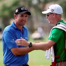 PALM BEACH GARDENS, FL - MARCH 02: Padraig Harrington of Ireland reacts after making his birdie putt on the 18th green to force a playoff after the continuation of the fourth round of The Honda Classic at PGA National Resort & Spa - Champion Course on March 2, 2015 in Palm Beach Gardens, Florida. (Photo by Sam Greenwood/Getty Images)