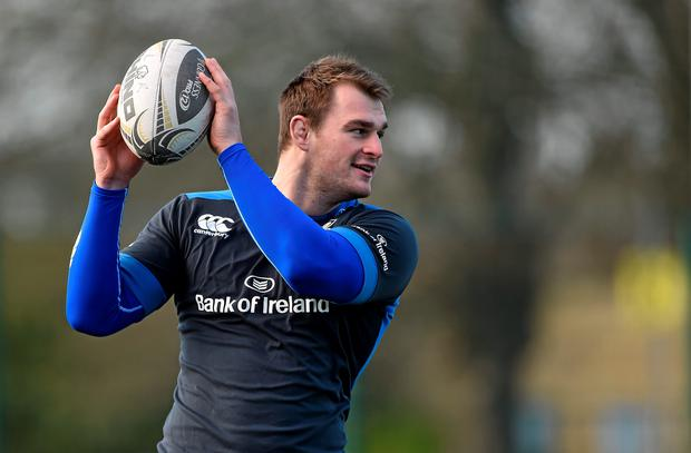 Leinster's Rhys Ruddock in action during squad training