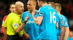 Referee Roger East sends-off Wes Brown during Sunderland's Premier League clash with Manchester United at Old Trafford. Photo: Alex Livesey/Getty Images