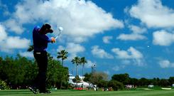 Padraig Harrington tees off on the first play-off hole at the Honda Classic at the PGA National Resort & Spa in Florida. Photo: David Cannon/Getty Images