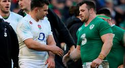 Ireland's Cian Healy shakes hands with England's Nick Easter (left) after the final whistle during the RBS Six Nations match at the Aviva Stadium