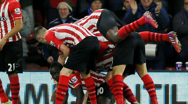 Southampton's Sadio Mane celebrates scoring their first goal