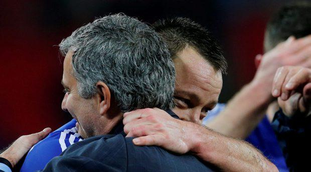 Chelsea manager Jose Mourinho and John Terry celebrate winning the Capital One Cup