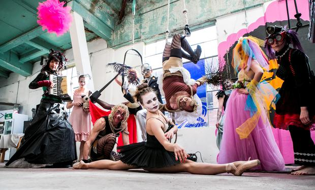 Members of the Guerilla Aerial pictured at the launch of the Electric Picnic line up in The Chocolate Factory in Kings Inn St . KOBPIX NO FEE