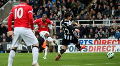 Ashley Young pounces to score a late winner for Manchester United against Newcastle last night