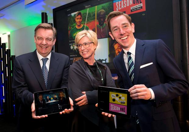 Pictured at the RTE Player International launch are Bryan Dobson, Moya Doherty, Chair of the RTE Board, Ryan Tubridy