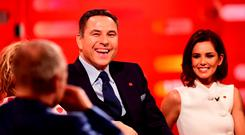 Graham Norton, David Walliams and Cheryl Fernandez-Versini during filming of the Graham Norton Comic Relief Show at the London Studios, in central London. Picture: Ian West/PA Wire