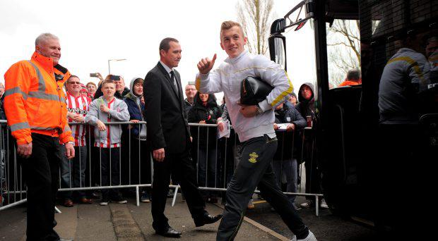 Southampton's James Ward-Prowse arrives before the Barclays Premier League match at The Hawthorns, West Bromwich