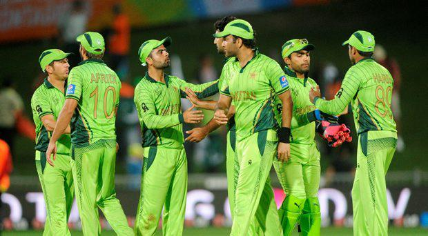 Pakistan players celebrate after defeating the United Arab Emirates in their Cricket World Cup Pool B match in Napier, New Zealand, Wednesday, March 4, 2015