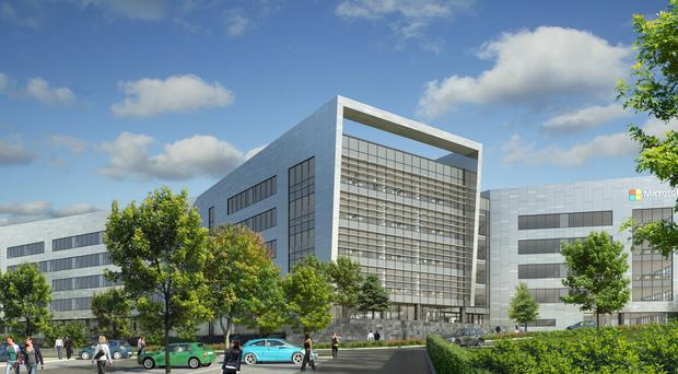 Artist's impression of new Microsoft building in Leopardstown Pic: Microsoft