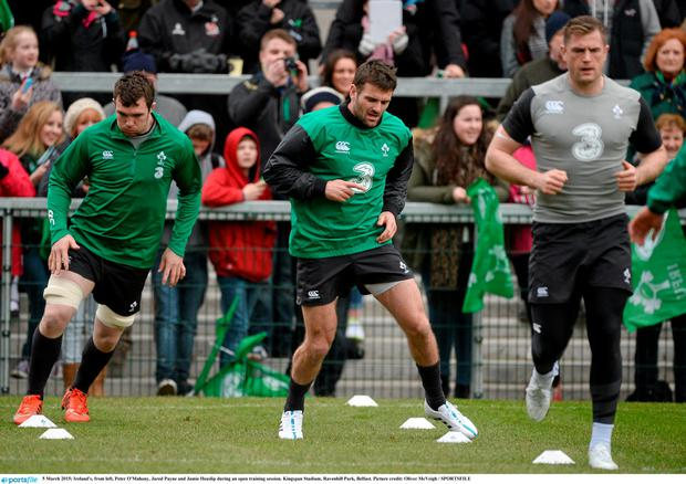 5 March 2015; Ireland's, from left, Peter O'Mahony, Jared Payne and Jamie Heaslip during an open training session. Kingspan Stadium, Ravenhill Park, Belfast. Picture credit: Oliver McVeigh / SPORTSFILE