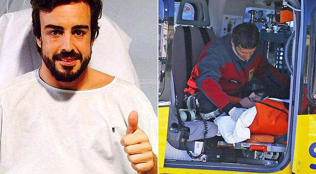 Thumbs up: Fernando Alonso is recovering in hospital after he was airlifted from the Circuit de Catalunya