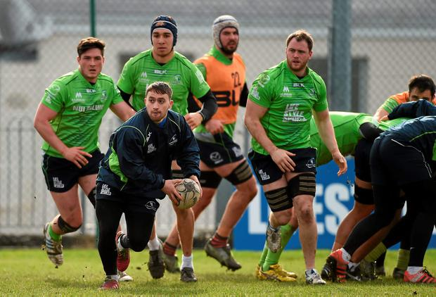 Connacht's Caolin Blade puts his best foot forward during training in Galway DIARMUID GREENE/SPORTSFILE