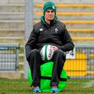 Johnny Sexton sits out yesterday's open training session at Ravenhill Park, Belfast, due to a hamstring strain
